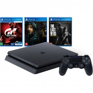 Console Playstation 4 Hits 1TB Bundle 10 - Gran Turismo + Death Stranding + The Last of Us - PS4